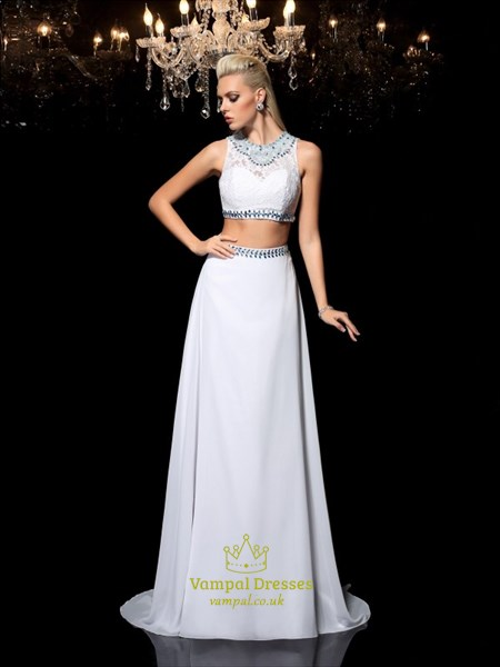 A Line High Neck Crystal Beaded Keyhole Chiffon Two Piece Prom Dress