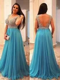 A-Line Aqua Blue V Neck Sleeveless V Back Applique Chiffon Prom Dress