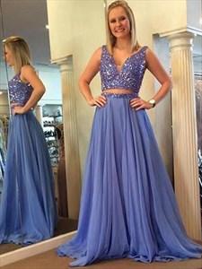 V Neck Sleeveless Beaded Floor Length Chiffon Two Piece Prom Dress