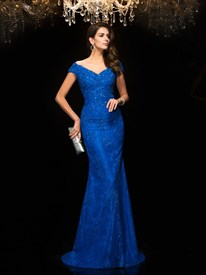 Elegant Royal Blue V Neck Cap Sleeve Beaded Lace Sheath Prom Dress