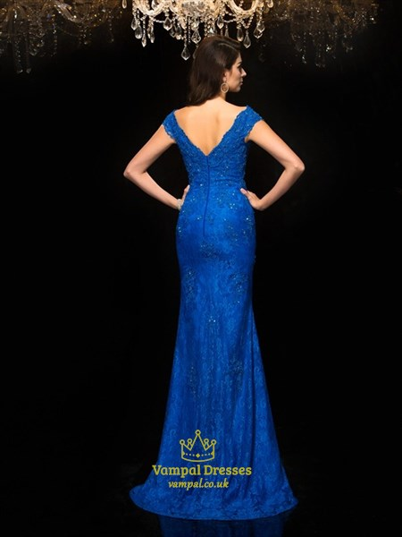 Elegant Royal Blue V Neck Cap Sleeve Beaded Lace Sheath Prom Dress