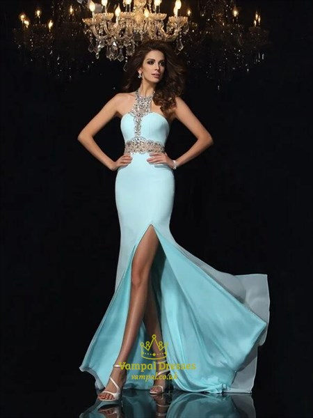 Light Blue Halter Neck Beaded Sheath Chiffon Prom Dress With Split
