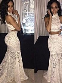 Ivory High Neck Sleeveless Sheath Mermaid Lace Two Piece Prom Dress