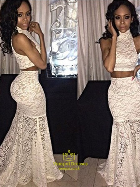Ivory High Neck Sleeveless Sheath Mermaid Lace Two Piece Prom Dress