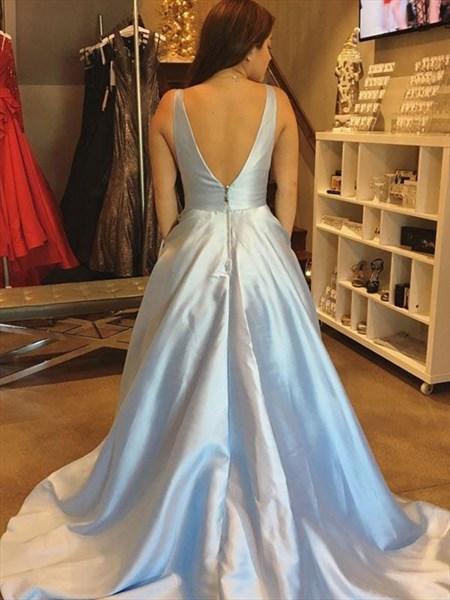 A Line Light Blue V Neck Sleeveless Satin Prom Dress With Train