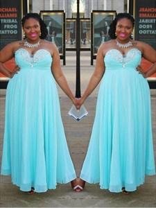 Light Blue Sweetheart Beaded Ruched Waist Chiffon Long Prom Dress