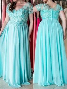 A-Line V Neck Short Sleeve Applique Floor Length Plus Size Prom Dress