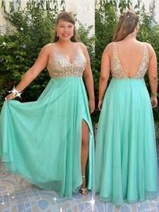 Turquoise V Neck Sleeveless Beaded Chiffon Prom Dress With Split
