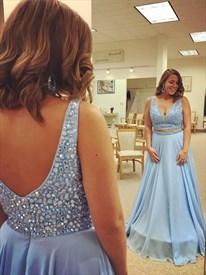 Light Blue V Neck Sleeveless Beaded Chiffon Two Piece Prom Dress