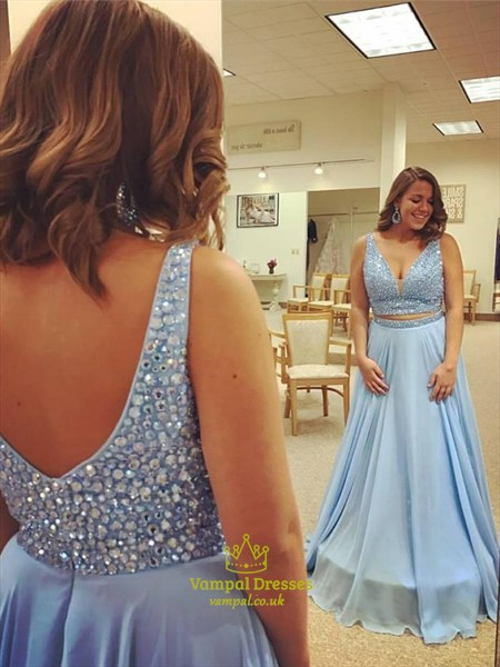Light Blue V Neck Sleeveless Beaded Chiffon Two Piece Prom Dress