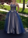 Blue Halter Neck Crystal Long Tulle Prom Dress With Lace Up Back