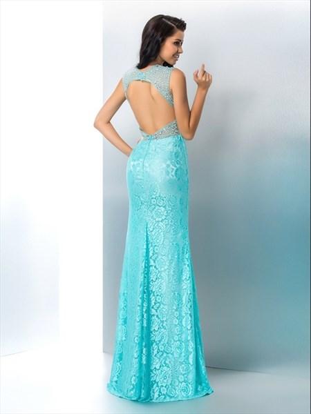 Light Blue V Neck Sleeveless Beaded Lace Prom Dress With Split