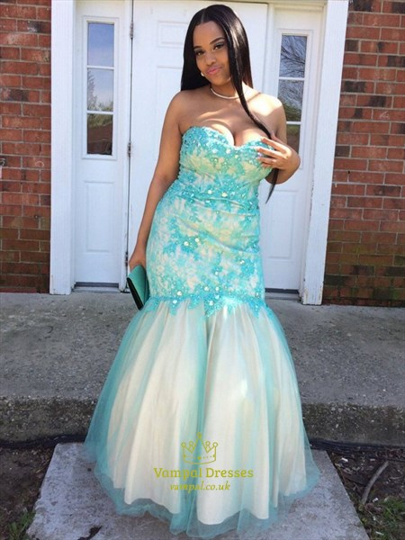 Sweetheart Neckline Applique Crystal Plus Size Tulle Prom Dresses