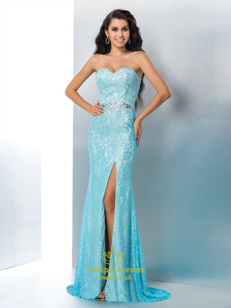 Sweetheart Crystal Sheath Lace Prom Dress With Split And Train