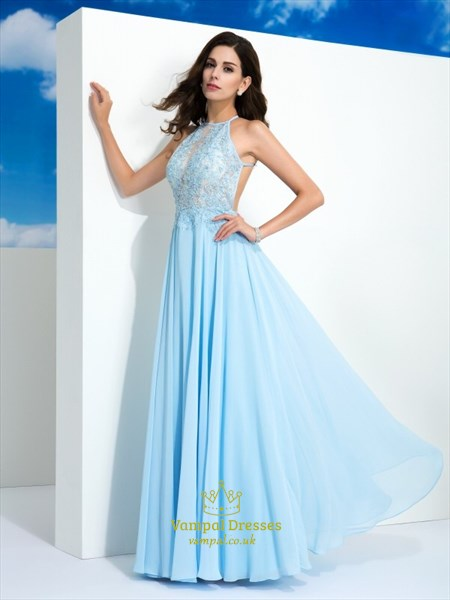 Sky Blue Halter Neck Beaded Applique Open Back Chiffon Prom Dress