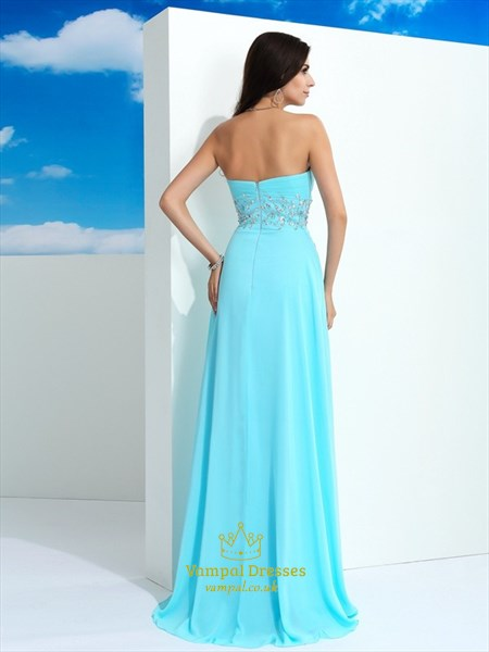 Strapless Sleeveless Ruched Bodice Long Prom Dress With Beaded Waist