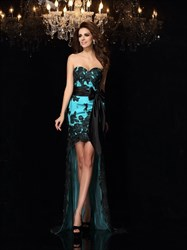 Turquoise Strapless Applique Tulle High Low Prom Dress With Sash