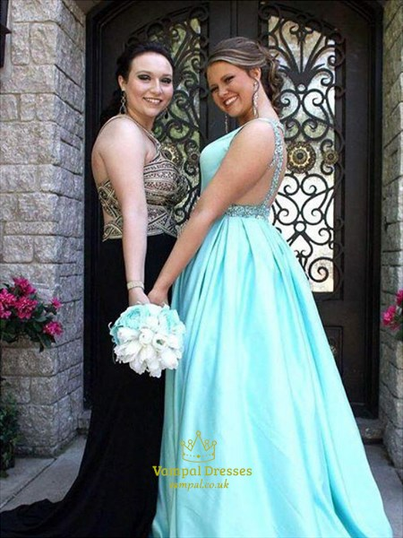 Light Blue A Line V Neck Sleeveless Beaded Backless Satin Prom Dress