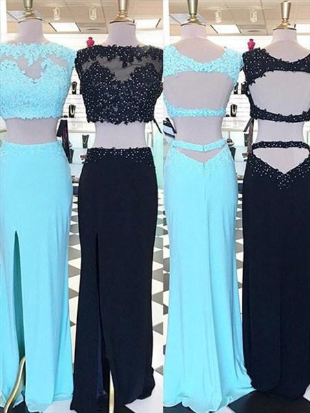 Sky Blue Beaded Applique Keyhole Back Two Piece Prom Dress With Split
