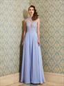 Lilac High Neck Beading Applique Keyhole Back Chiffon Prom Dress