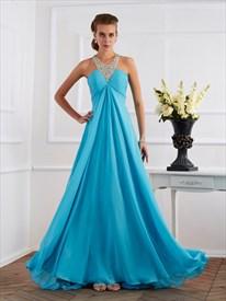 Halter Neck Sleeveless Ruched Bodice Beaded A Line Chiffon Prom Dress