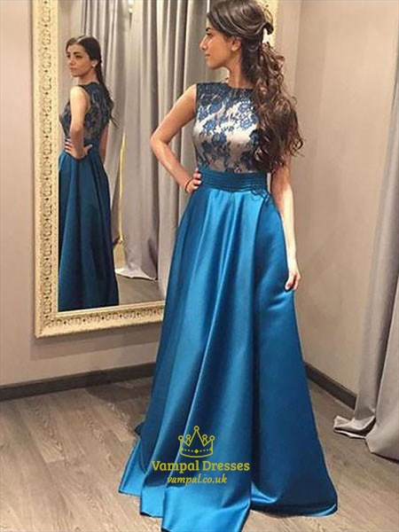 A Line Bateau Neck Sleeveless Applique Floor Length Satin Prom Dress