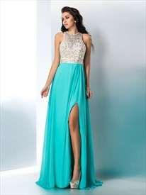 Light Blue High Neck Crystal Keyhole Back Prom Dress With Split