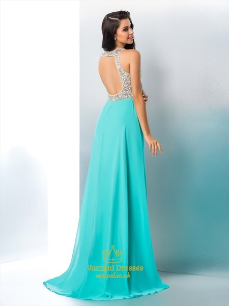 Light Blue High Neck Crystal Keyhole Back Prom Dress With Split