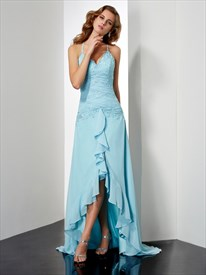 Spaghetti Strap Beading Sheath High Low Prom Dress With Ruffles