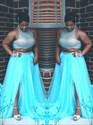 High Neck Sleeveless Beaded Plus Size Two Piece Prom Dress With Split