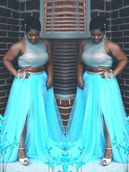 High Neck Sleeveless Beaded Plus Size Two Piece Prom Dress With Split