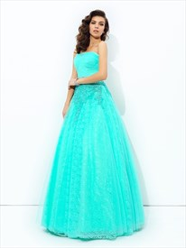 Strapless Beaded Applique Floor Length A-Line Tulle Prom Dress