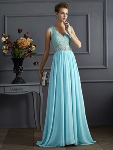 Light Blue V Neck Illusion Back Beaded Applique Chiffon Prom Dress