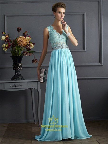 Light Blue V Neck Illusion Back Beaded Applique Chiffon Prom Dress