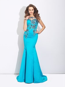 Bateau Neck Illusion Back Applique Sheath Satin Mermaid Prom Dress