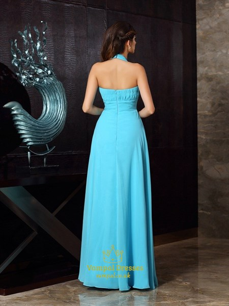 A Line Light Blue Halter Neck Sleeveless Ruched Chiffon Prom Dress