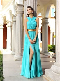 High Neck Sleeveless Pleated Chiffon Long Prom Dress With Split