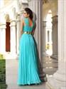 High Neck Sleeveless Pleated Chiffon Long Prom Dress With Split