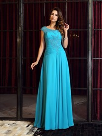 Aqua Blue Jewel Neck Cap Sleeve Applique Ruched Chiffon Prom Dress