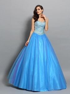 Sweetheart Neckline Sleeveless Beaded Tulle Ball Gown Prom Dress
