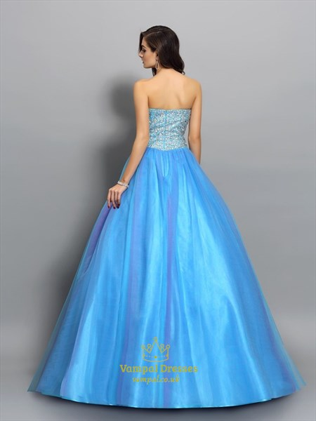 Sweetheart Neckline Sleeveless Beaded Tulle Ball Gown Prom Dress