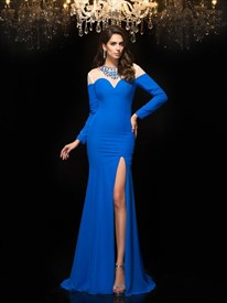 Royal Blue Illusion Neckline Long Sleeve Sheath Prom Dress With Split