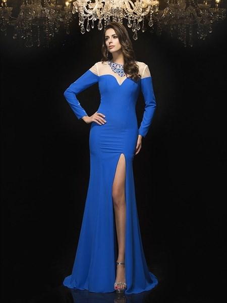 Royal Blue Illusion Neckline Long Sleeve Sheath Prom Dress With Split