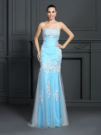 Strapless Sleeveless Applique Floor Length Sheath Tulle Prom Dress