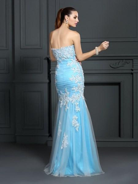 Strapless Sleeveless Applique Floor Length Sheath Tulle Prom Dress