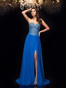 Elegant Royal Blue Sweetheart Beaded Chiffon Prom Dress With Split