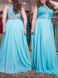A Line Jewel Neck Illusion Back Applique Plus Size Chiffon Prom Dress