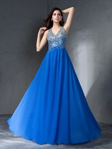 Royal Blue V Neck Sleeveless Beaded Keyhole Back A Line Prom Dress