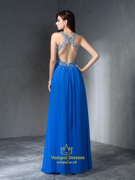 Royal Blue V Neck Sleeveless Beaded Keyhole Back A Line Prom Dress