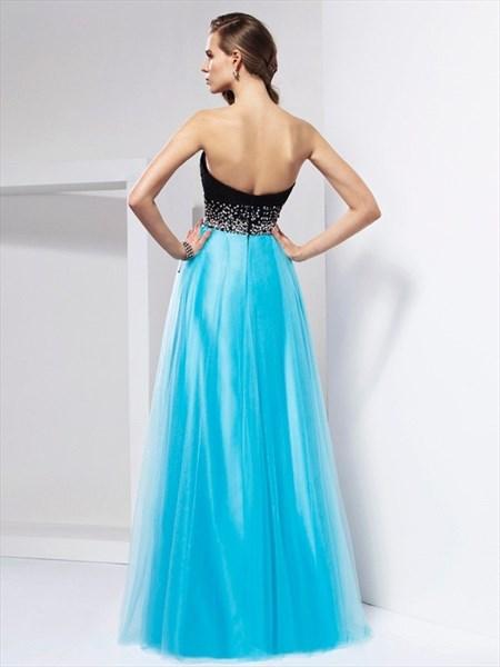 Turquoise Sweetheart Sleeveless Beaded Floor Length Tulle Prom Dress